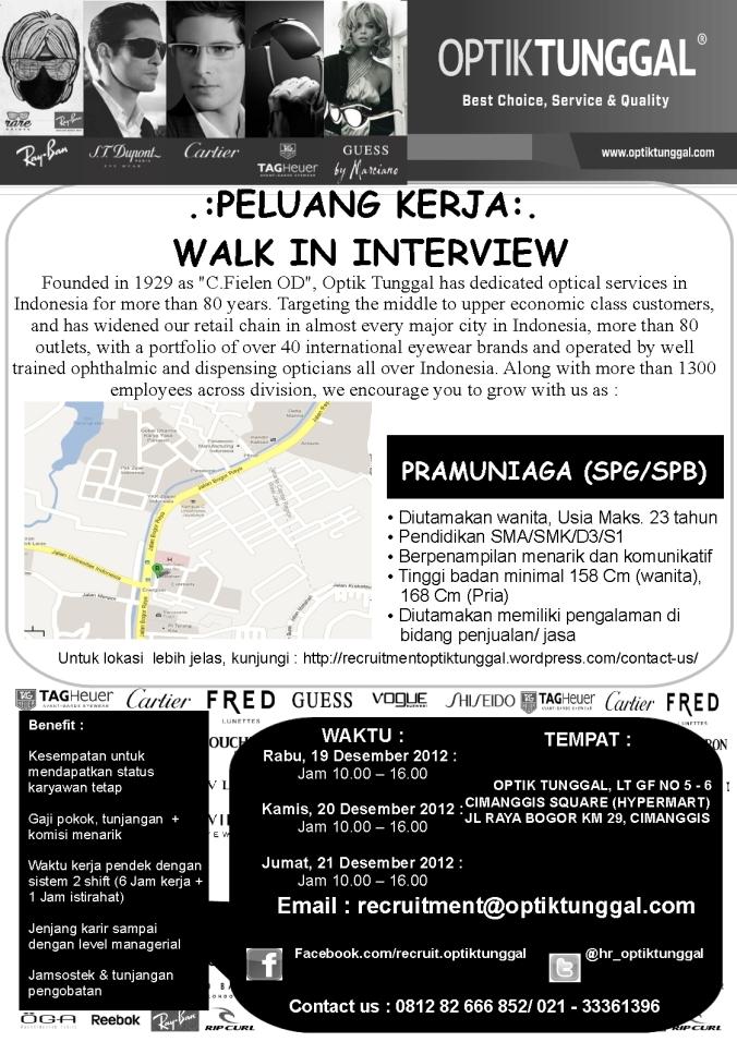 POSTER WALK IN JAKARTA - CIMANGGIS DESEMBER 2012
